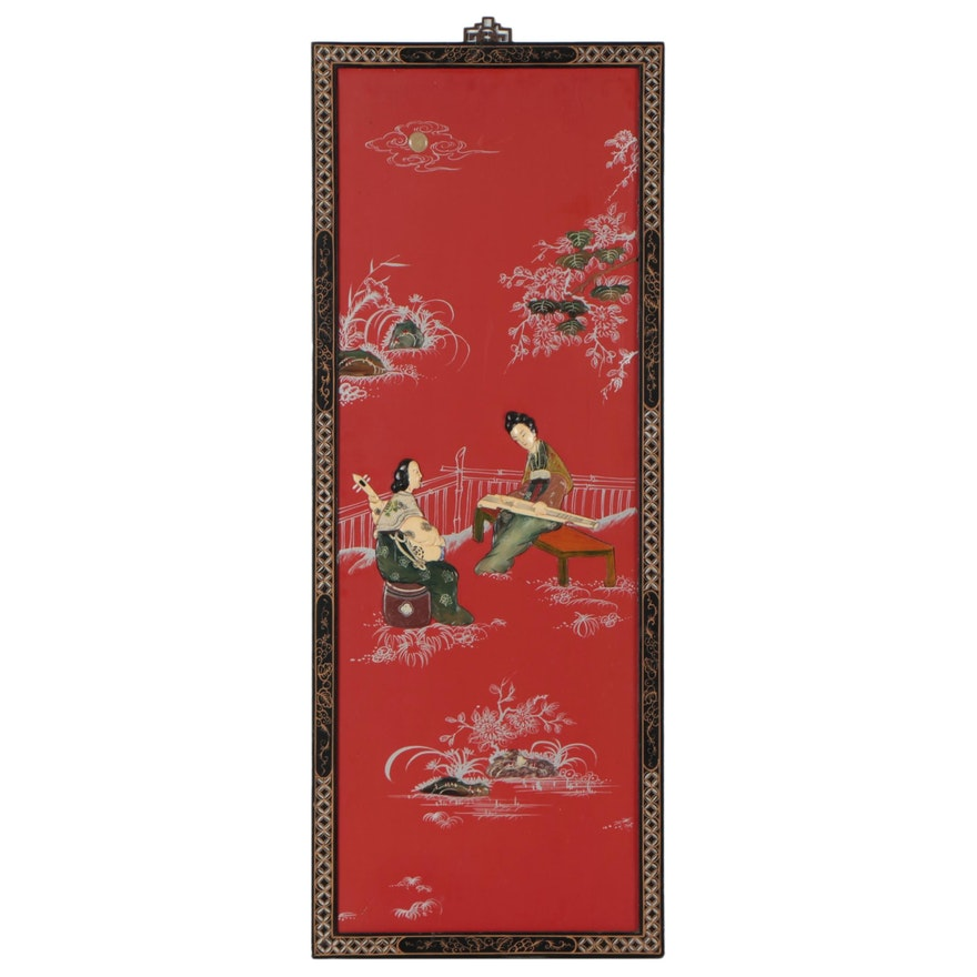 Chinese Screen Panel of Musicians