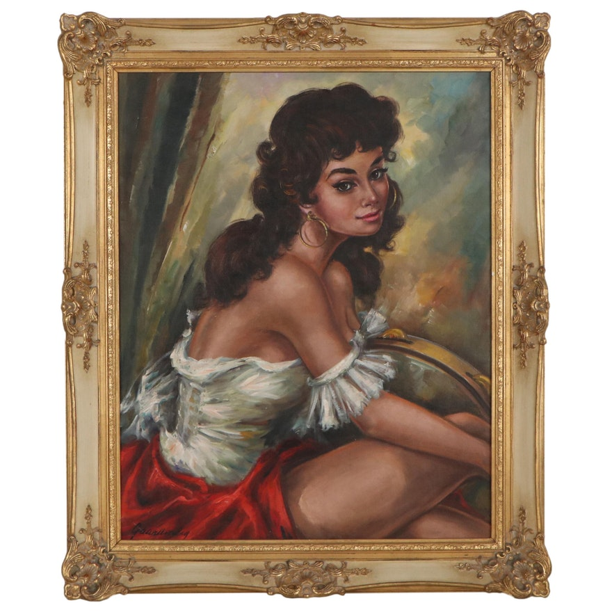 Portrait Oil Painting of Woman with Tambourine, Mid-20th Century