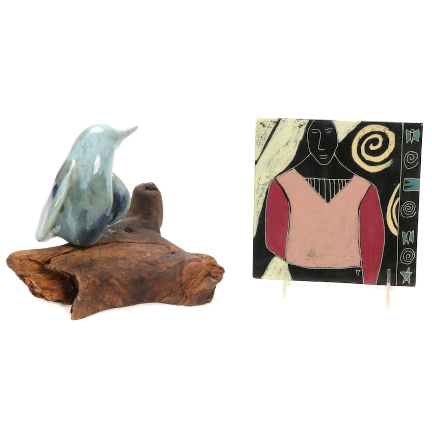 """Ceramic Bird and Petrified Wood Sculpture and """"Butterfly Italian"""" Art Tile"""