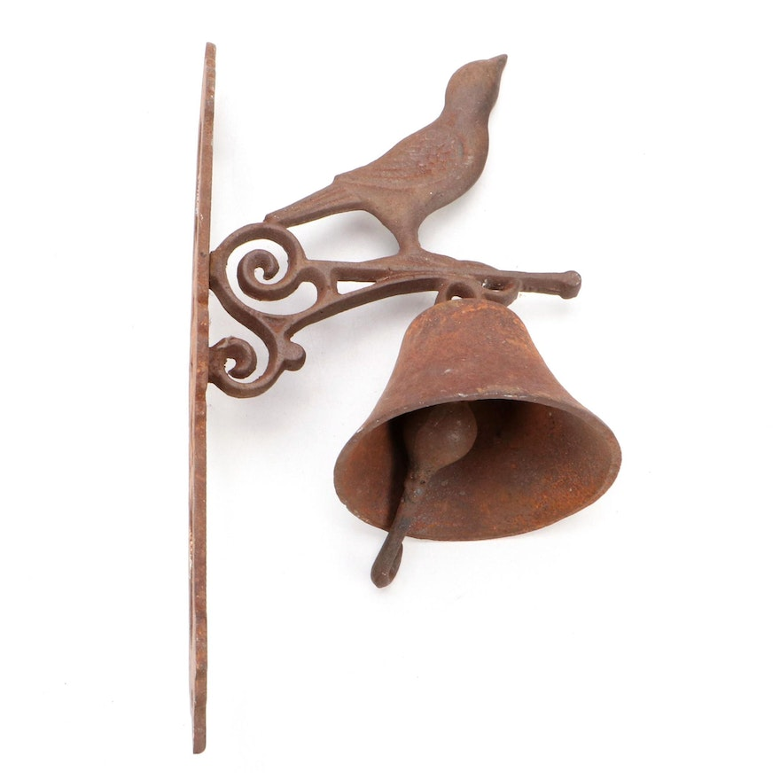 Cast Iron Bird Motif Wall Mount Bell, Mid to Late 20th Century