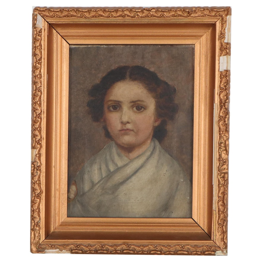 Oil Portrait of Child, Early 20th Century
