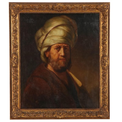 Portrait Oil Painting After Rembrandt van Rijn, Mid-Late 20th Century