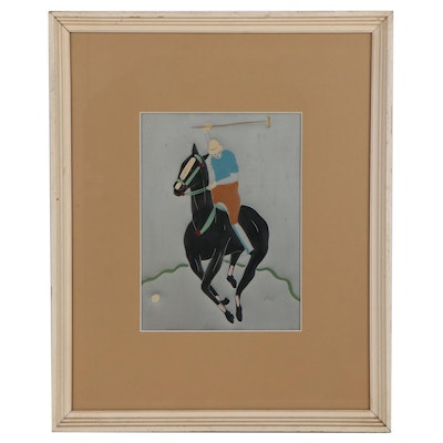 Acrylic Painting on Embossed Metal of Polo Player, Late 20th Century