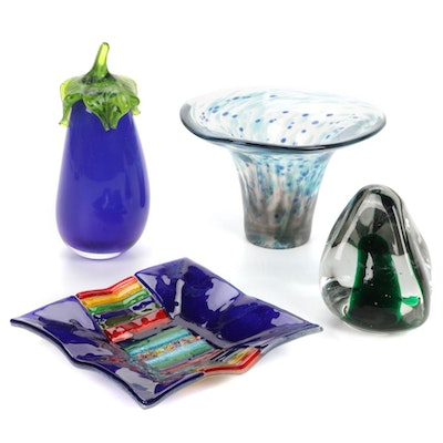 Blown Art Glass Paperweights, Vase and Plate