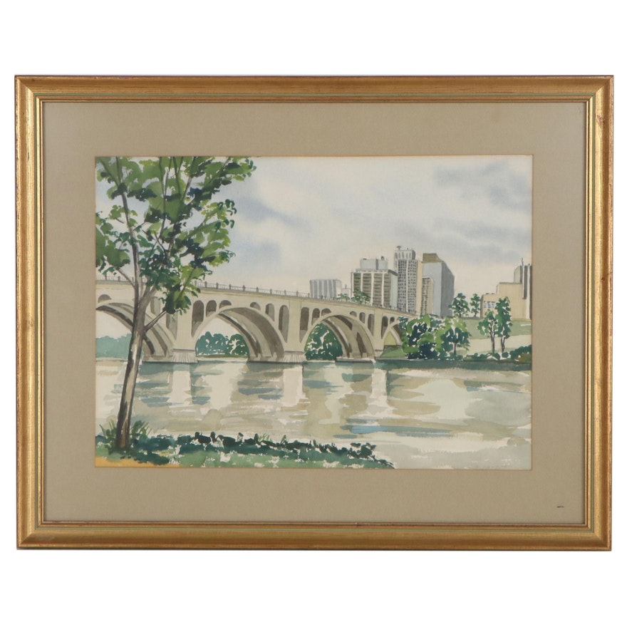 Watercolor of Key Bridge in Georgetown, Washington, D.C., Late 20th Century