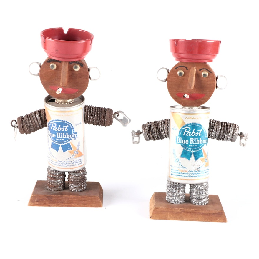 Folk Art Found Object Sculptures of Man and Woman