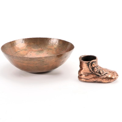 Copper Toned Baby Shoe Ornament and Hammered Copper Toned Metal Bowl
