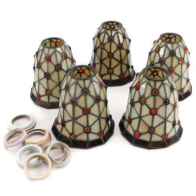 Quoizel Collectibles Mosaic Jeweled Slag Glass Lamp Shades