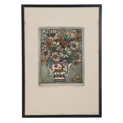 """Alfred Cohen Hand-Colored Etching """"Buttercups and Daisies"""""""