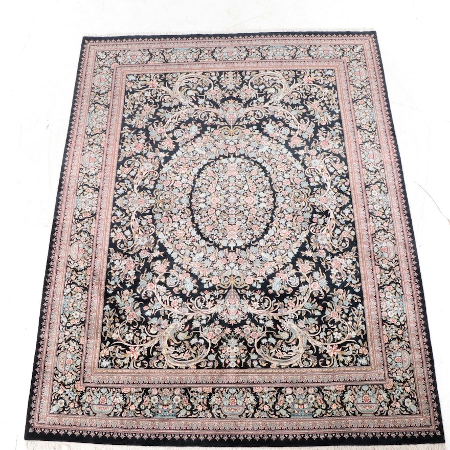 9' x 12'3 Hand-Knotted Indo-Persian Kerman Style Room Sized Rug