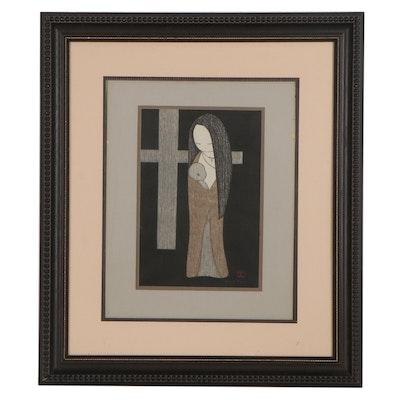 "Kaoru Kawano Woodblock ""Maria Kwannon,"" Circa 1950"