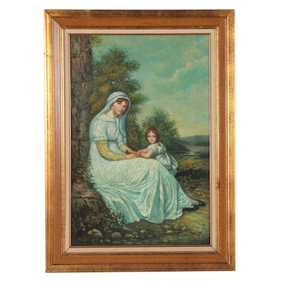 Portrait Oil Painting of Mother and Child, Circa 2000