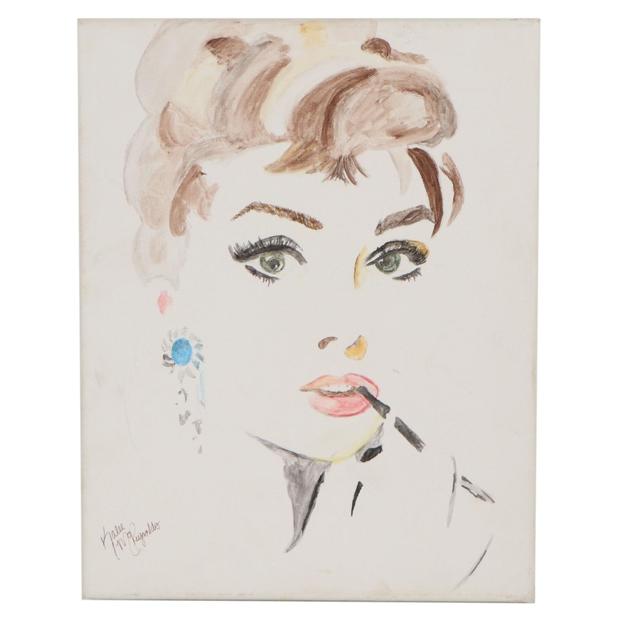 Kalee McRaynolds Pop Art Acrylic Painting of Audrey Hepburn