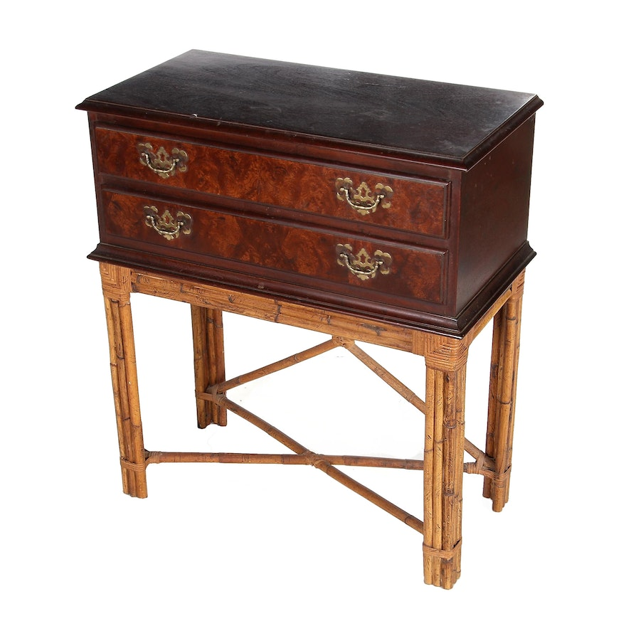 Mahogany Two-Drawer Chest on Rattan Stand