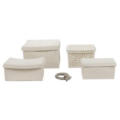 "Einat Cohen ""Four Boxes"" Porcelain Decorative Boxes with Strings Of Lights"