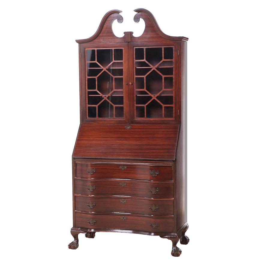 Chippendale Style Mahogany Secretary Desk, 1940s