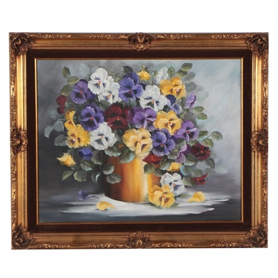Oil Painting Still Life of Pansies in Gold Vase, Circa 2000