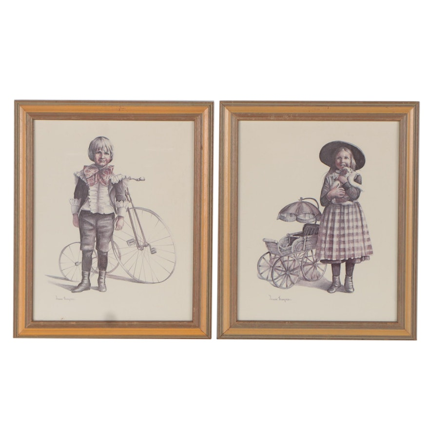 Offset Lithographs After Joanne Thompson of Children