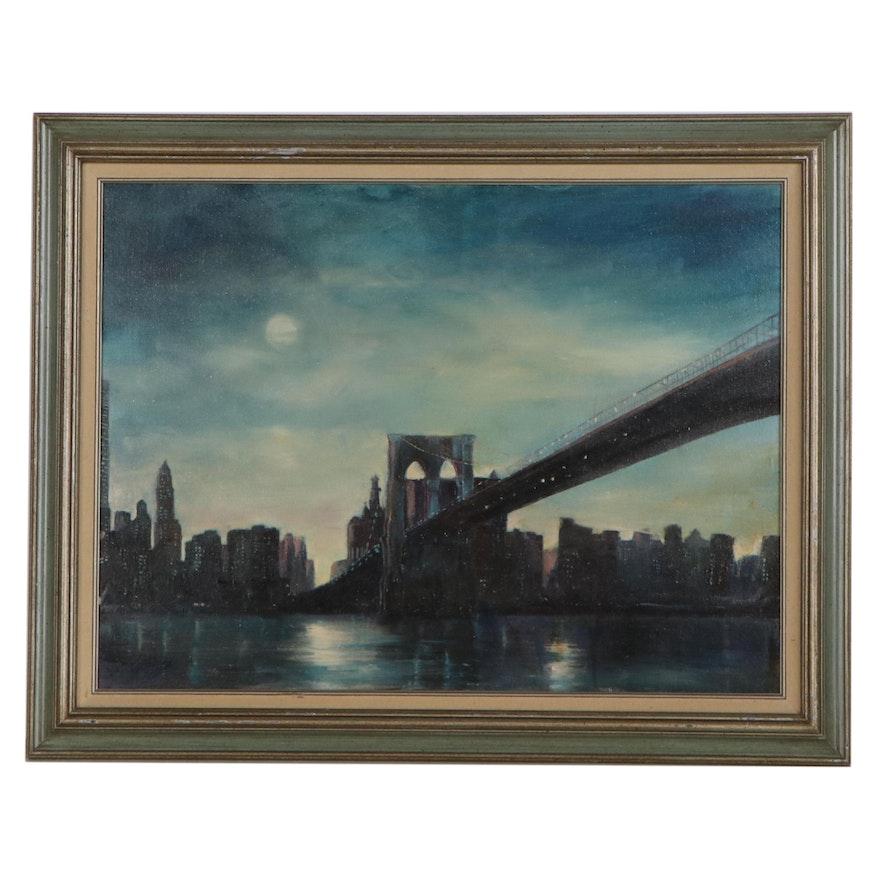 New York City Cityscape Oil Painting of Brooklyn Bridge, Late 20th Century