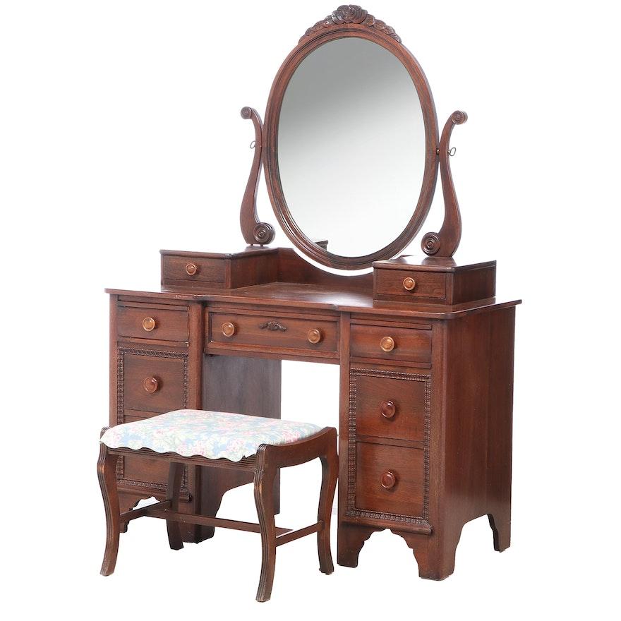 Davis Cabinet Co. Victorian Style Walnut Vanity with Stool, 1940s