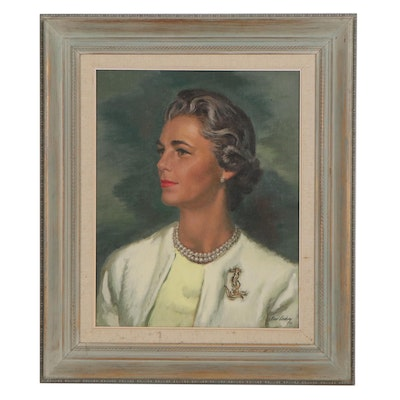 Earl Cordrey Portrait Oil Painting of a Woman, 1962