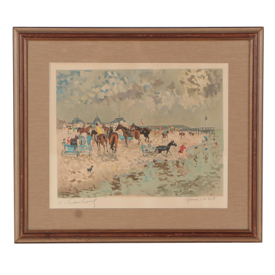 André Hambourg Serigraph of Horses at Beach of Trouville, Mid-20th Century