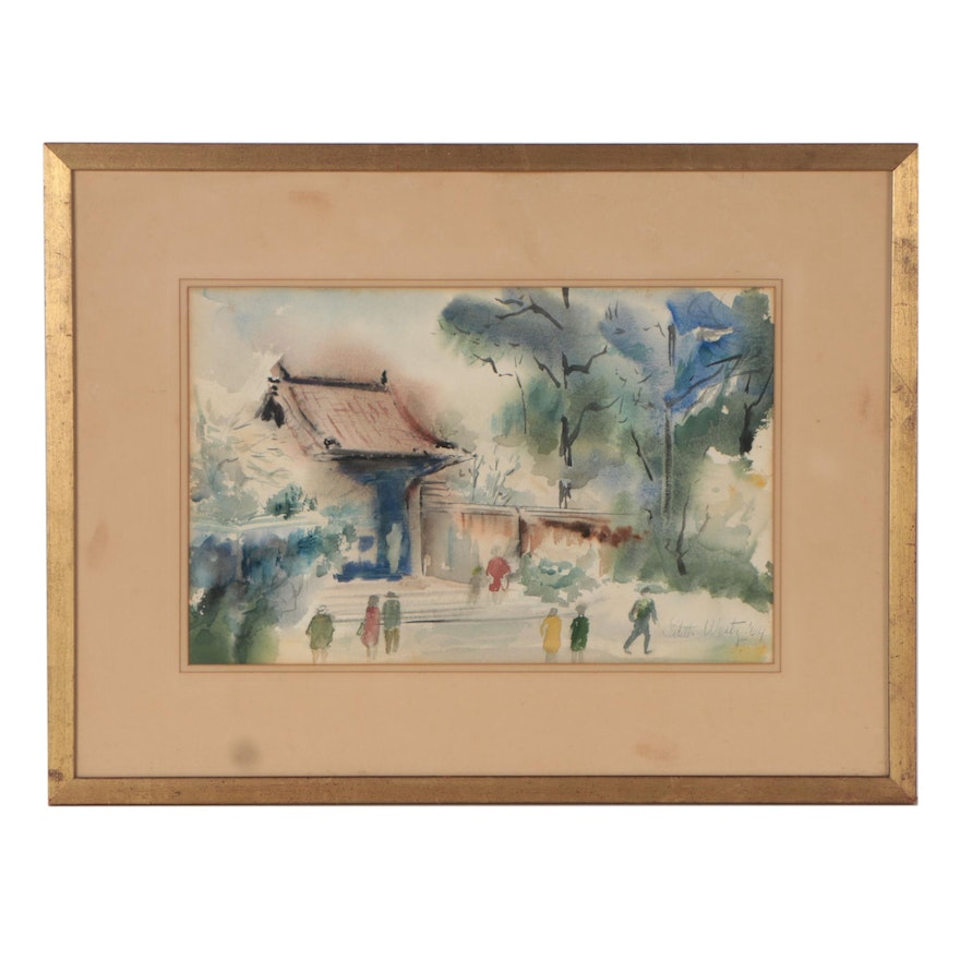 Watercolor Painting of East Asian Landscape, 1964
