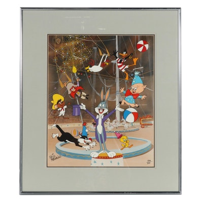 Friz Freleng Warner Bros. Hand-Painted Animation Cel of Circus Scene