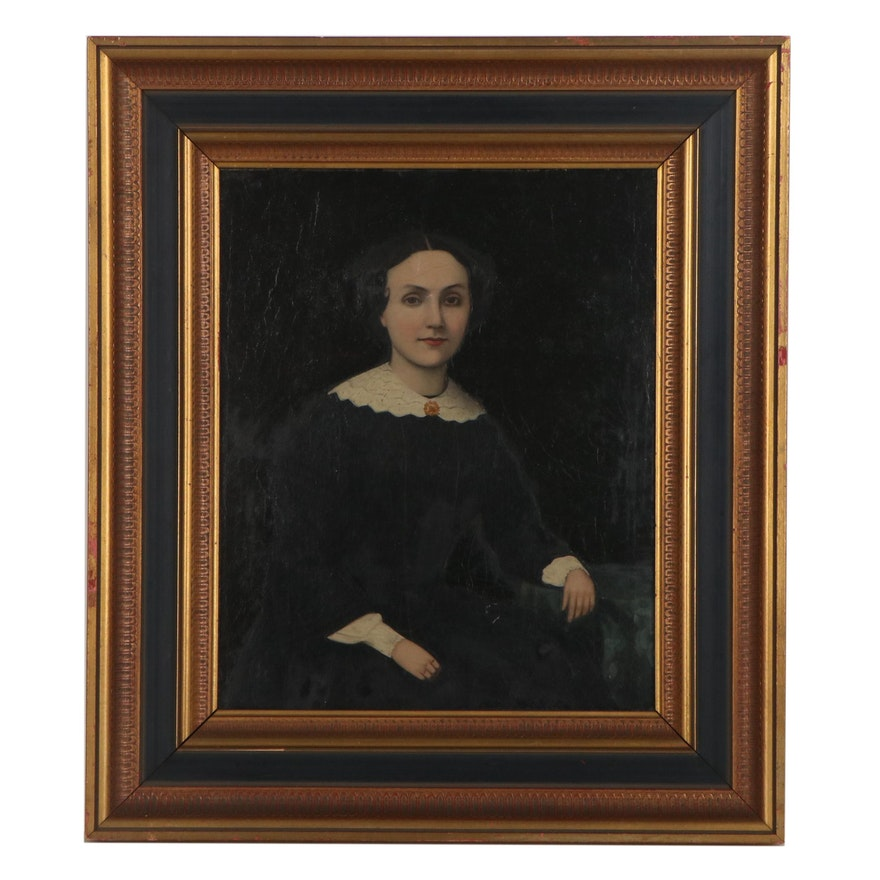 American Folk Portrait Oil Painting of a Woman, Mid-19th Century