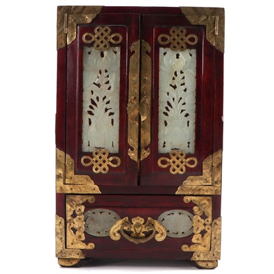Chinese Brass Mounted Wood Jewelry Armoire with Carved Serpentine Panels