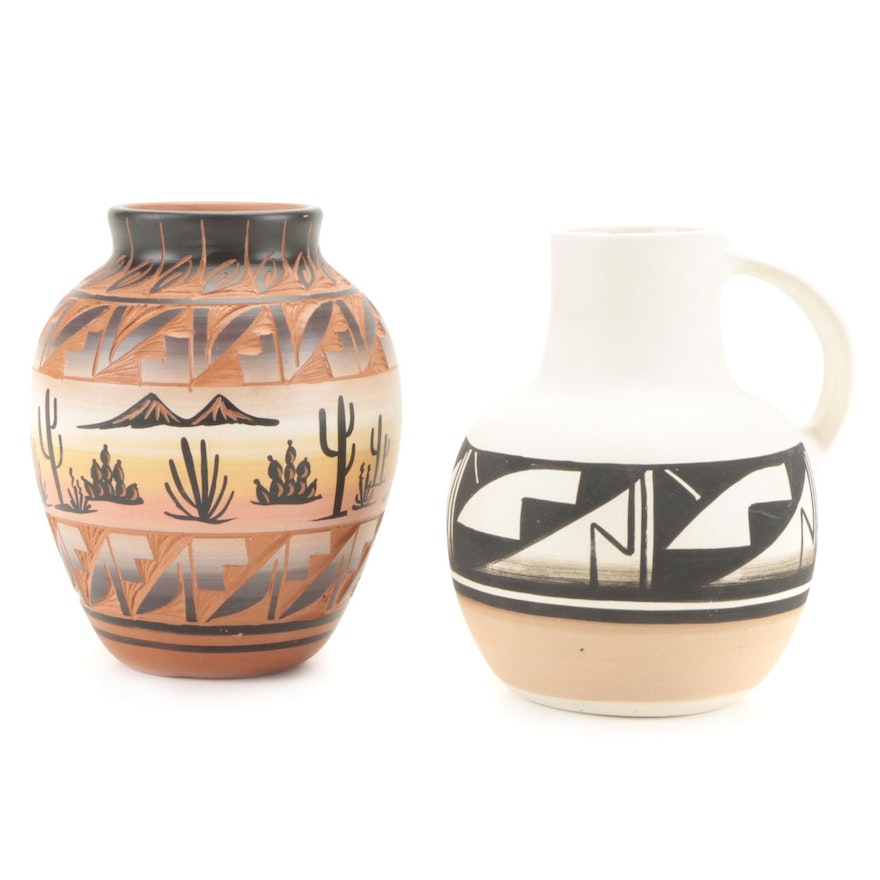 Navajo Polychrome and Sgraffito Pottery Vessel and Ute Mtn Pottery Jug