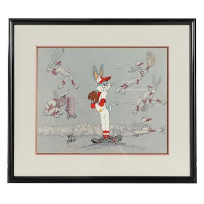 "Friz Freleng Signed Warner Bros. Animation Cel ""Baseball Bugs,"" 1990"