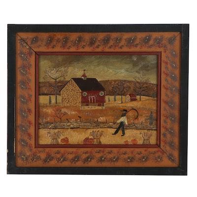 Nedine Hake Buck Naive Farm Landscape Oil Painting, Late 20th Century