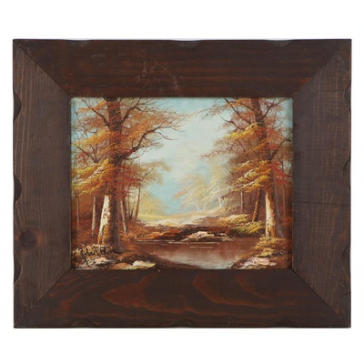 Robert More Forest Landscape Oil Painting, Late 20th Century