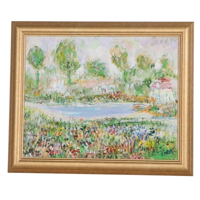 Impressionist Style Landscape Oil Painting, 1995