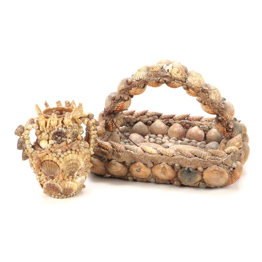 Folk Art Shell Art Basket and Vase