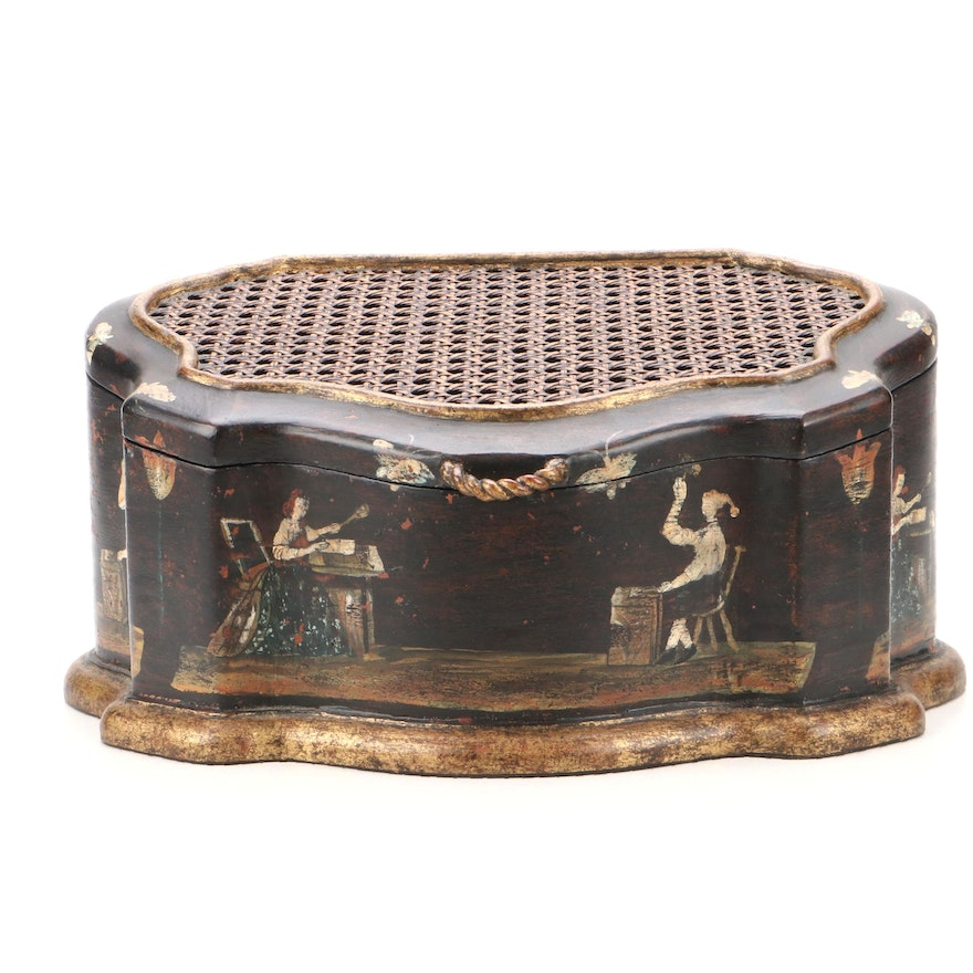 Painted Wooden Cane Top Box