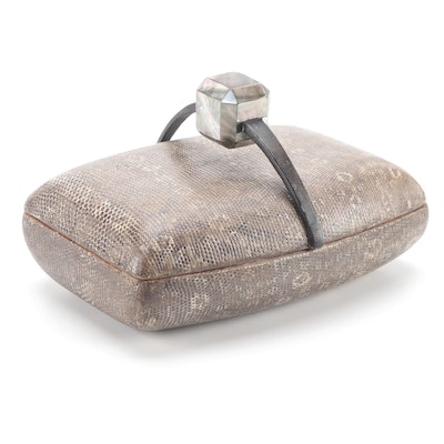 R&Y Augousti Snakeskin and Abalone Jewelry Box, Mid to Late 20th Century