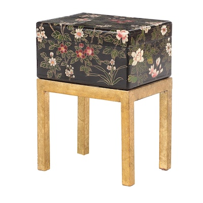 Floral Painted and Lacquered Box-on-Stand