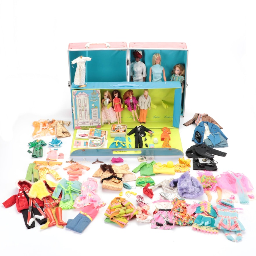 Mattel Julia and Malibu Barbie with Clothes and Case, and Dawn Dolls with Case