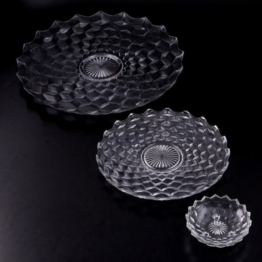 """Fostoria """"American Clear"""" Glass Serving Platters and Bowl, 20th Century"""