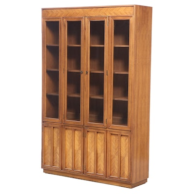 Pecan China Cabinet, Mid to Late 20th Century