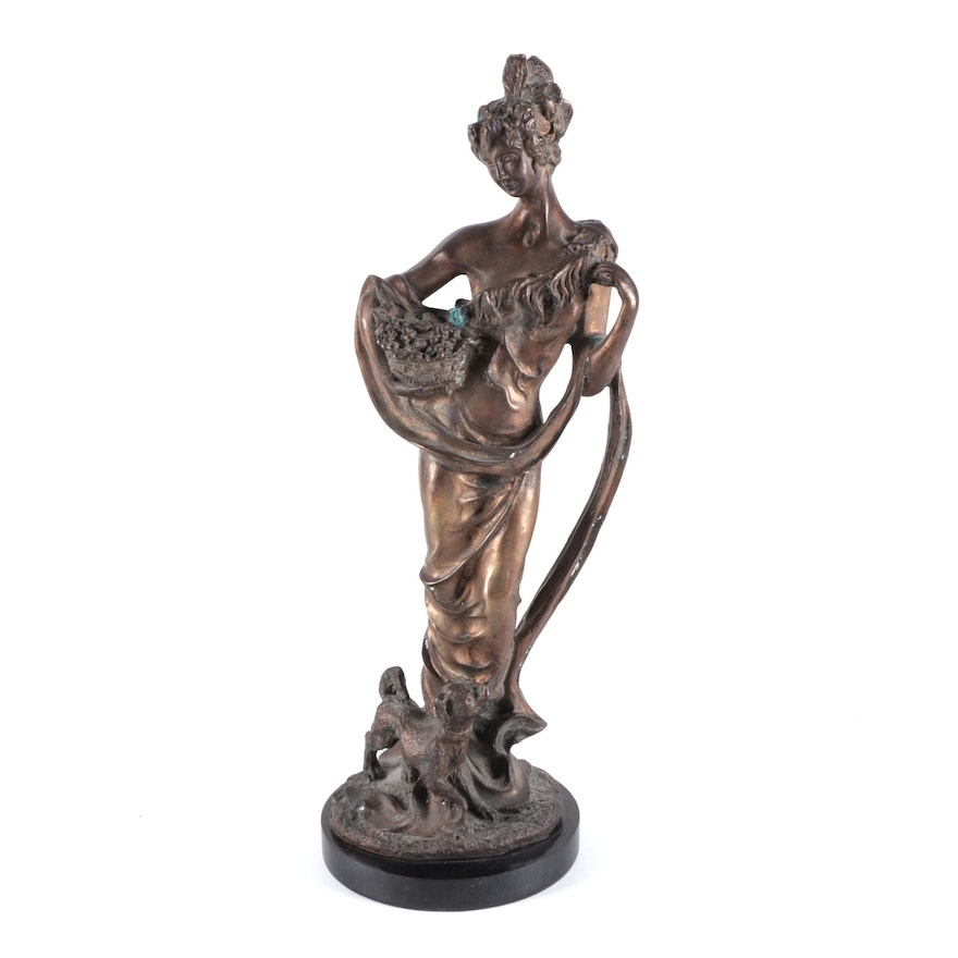 Metal Sculpture of Woman with Basket and Dog