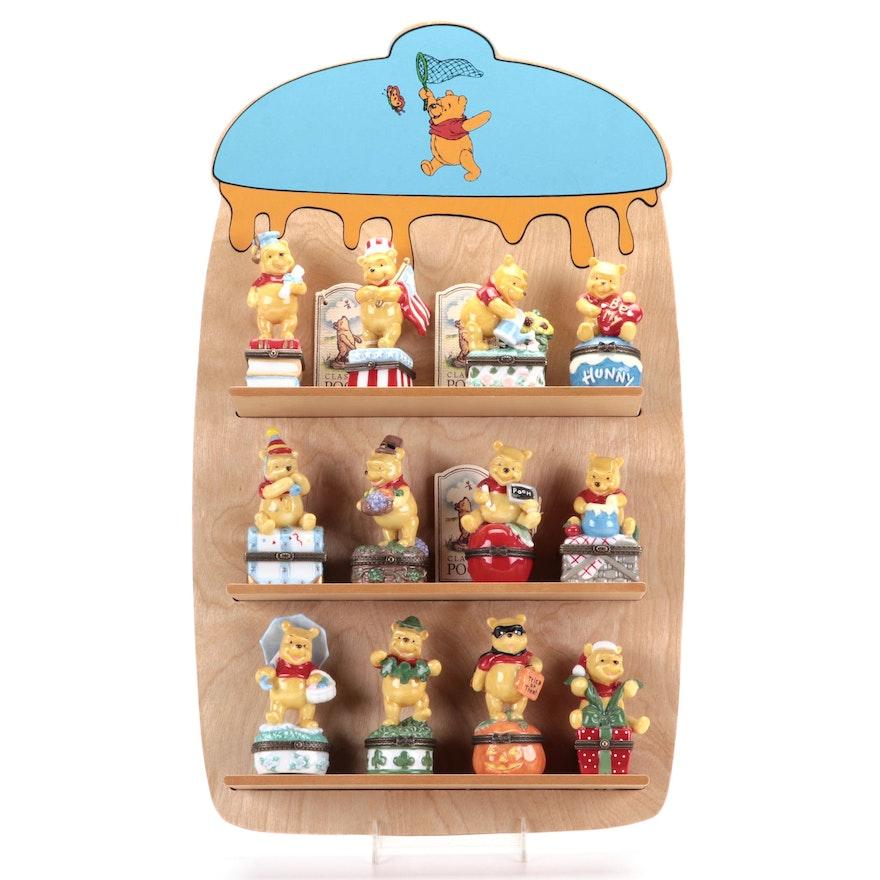 "Walt Disney ""Classic Pooh"" Seasonal Porcelain Boxes with Shelf"