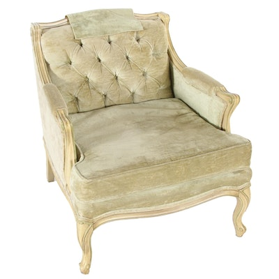 Lenoir Chair Co. for Broyhill Louis XV Style Painted and Buttoned-Down Bergère
