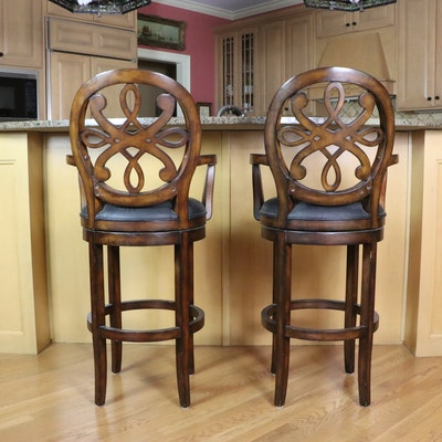 Pair of King Group Furniture Co. Upholstered Barstools