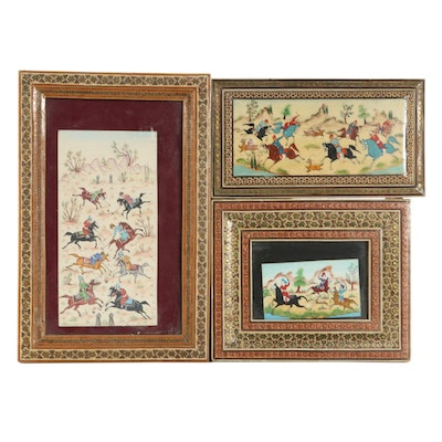 Indo-Persian Gouache Paintings of Polo Players and Other Scenes