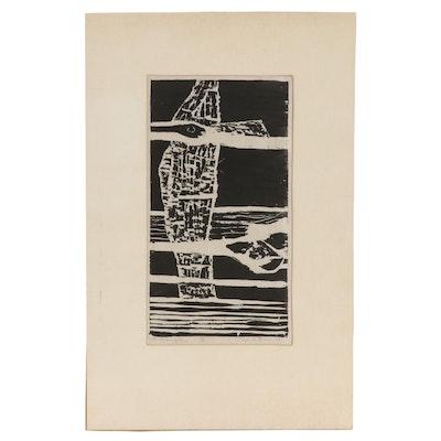 "David Gross Linoleum Print ""The Crossing of Time,"" 1965"