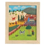 """Cher Shaffer Folk Art Oil Painting """"Berry Picking in the Cow Pasture,"""" 2008"""