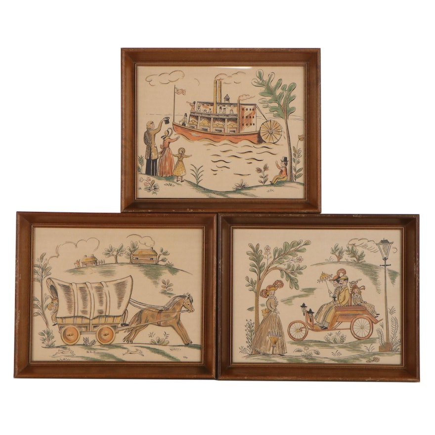 Hand-Colored Lithographs of Folk Art Scenes, Mid to Late 20th Century